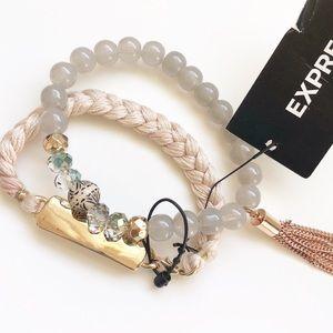 Express beaded rose gold tassel bracelet set